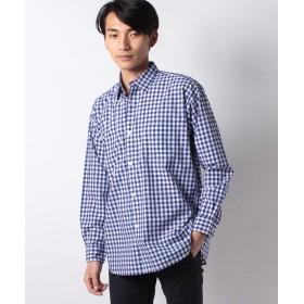 【50%OFF】 コエ 40ブロ ドビッグシルエットシャツ メンズ チェックブルー L 【koe】 【セール開催中】