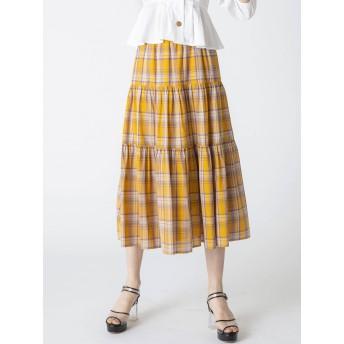 dazzlin マドラスチェックマキシスカート