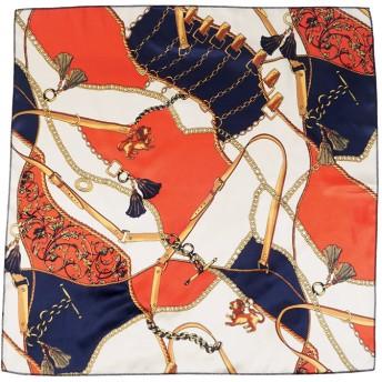 ストール - coca レトロ柄上品とろみスカーフ(大判 正方形 バンダナ 乗馬柄 馬具柄 鎖柄 チェーン柄 ピンク オレンジ アンティーク 19sscoca コカ)