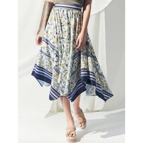[MERCURYDUO]スカーフ柄イレヘムスカート