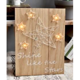 【訳あり】壁掛けオブジェ インテリアボード 木製 LEDライト 電池式 (お星さま)