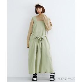 メルロー ウエストリボンフロントタックジャンパースカート レディース ライトグリーン FREE 【merlot】