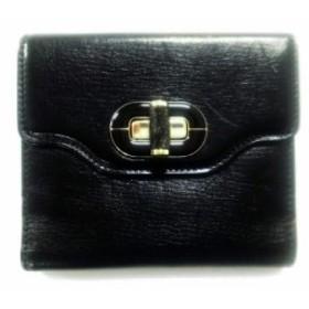 ブルガリ BVLGARI 2つ折り財布 レディース 美品 イザベラ・ロッセリーニ 黒 レザー【中古】