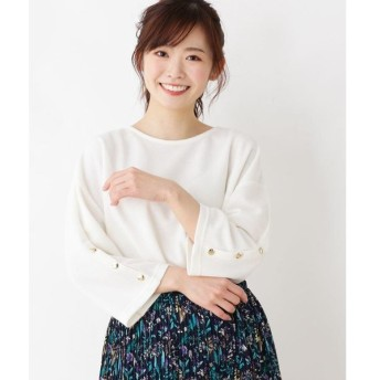 3can4on / サンカンシオン 【洗える】袖ボタンニットソー