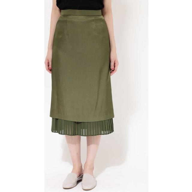 裾プリーツスカート カーキ