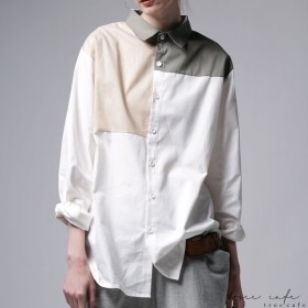 トップス シャツ 綿 綿100% 長袖 コットン ユニセックス 。ブロッキングシャツ・##メール便不可
