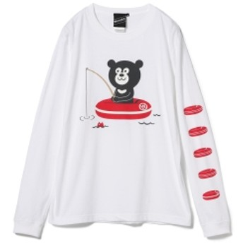 【SPECIAL PRICE】BEAMS T / Fishing Bear Long Sleeve Tee メンズ Tシャツ WHITE S