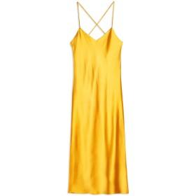 《セール開催中》TOPSHOP レディース ロングワンピース&ドレス オークル 6 ポリエステル 95% / ポリウレタン 5% PLAIN SATIN SLIP DRESS