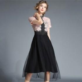バイカラーの刺繍レースがエレガントなオトナ可愛いひざ丈チュールパーティドレス a0590