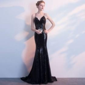 ロングドレス パーティードレス 結婚式 二次会 ワンピース 結婚式ドレス お呼ばれワンピース 20代 30代 40代 黒 a0760