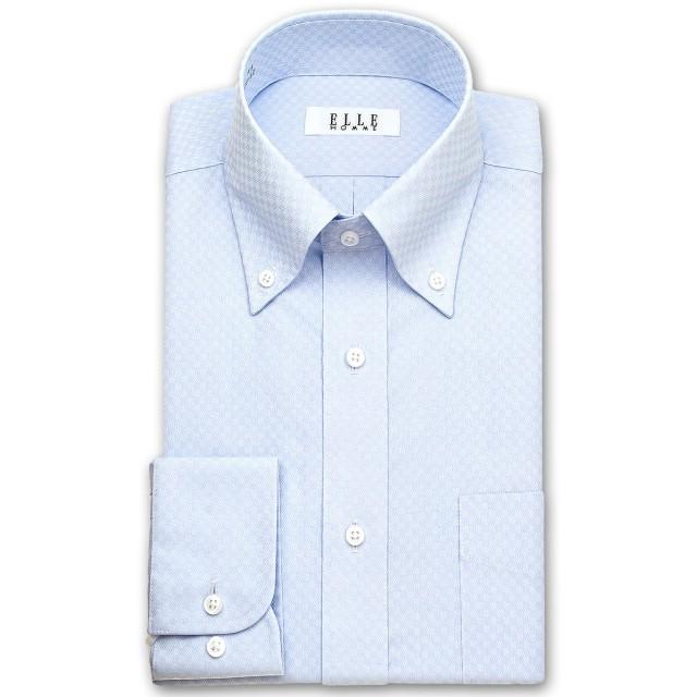 ワイシャツ - ワイシャツの山喜 ELLE HOMME 長袖 ワイシャツ メンズ 春夏秋冬 形態安定加工 ブルードビーのブロックチェック ボタンダウンシャツ綿ポリエステル ブルー(zed381-250)