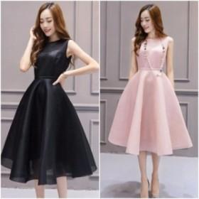 結婚式ドレス パーティードレス ボリューミーなフレアスカートが華やかなワンピース a0101