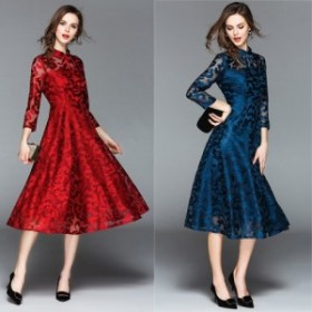 パーティードレス 結婚式 二次会 ワンピース 結婚式ドレス お呼ばれワンピース 30代 40代 袖あり ミモレ丈 黒 赤 ブルー a1097
