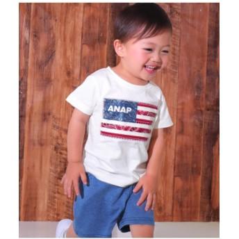 【50%OFF】 アナップキッズ 国旗アップリケTシャツ レディース オフホワイト 120 【ANAP KIDS】 【セール開催中】