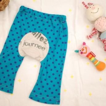【80】Baby'sモンキーパンツ*ターコイズブルー〔青紫〕×英字フォントプリント