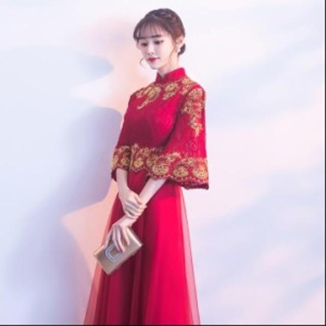 2019春 新品 優雅 刺繍 パーティードレス スレンダーライン ワンピース ワンピース 袖なし エレガント 結婚式ドレス お呼ばれ 上品
