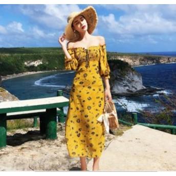 沖縄リゾートワンピース オフショル マキシ丈 ロング丈 ワンピース リゾート ファッション リゾートドレス 花柄 AF2097