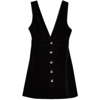 《9/20まで! 限定セール開催中》TOPSHOP レディース ミニワンピース&ドレス ブラック 10 コットン 70% / ポリエステル 27% / ポリウレタン 3% CORDUROY PINAFORE DRESS