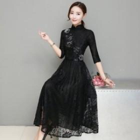 結婚式ドレス パーティードレス 20代30代 上品で大人可愛いアジアンテイスト風総レースドレス a0508