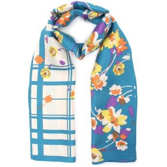 AURORA AURORA(オーロラ) foulatelier フラトリエ シルクツイルブーケフラワー&チェック柄プチロングスカーフ 2FT550-13 スカーフ,ターコイズ