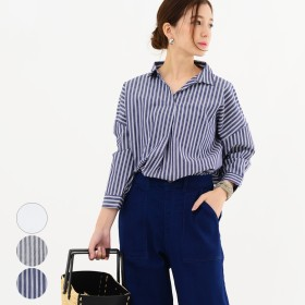 ブラウス - LAPULE レディース ファッション 大きいサイズ 体形カバー 40代 30代 春 トップス スキッパーシャツ ブラウス 七分丈 体形カバーストライプ