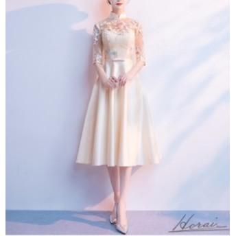 レース 花柄 バックコンシャス ウエストリボン きれいめ 上品 七分袖 袖あり ドレス 結婚式 お呼ばれ パーティードレス ワンピース 春 夏
