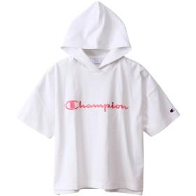 Champion プルオーバー フード付き半袖Tシャツ ロゴ入り CW-P306