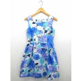 ユニバーバル ミューズ UNIVERVAL MUSE ワンピース スカート ノースリーブ 総柄 ジップ スクエアカラー ホワイト ブルー 白 青