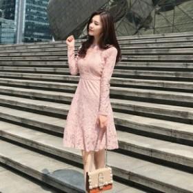 総レースフレアワンピース☆ 長袖 ミニ丈 Aライン フォーマル ピンク 透け感 フェミニン エレガント パーティー お呼ばれ