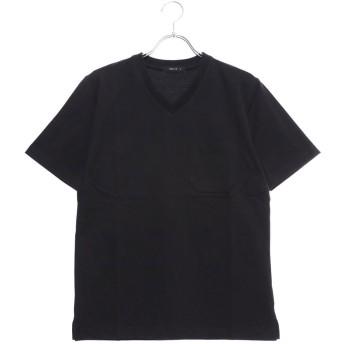 コムサイズム COMME CA ISM <汗染み防止加工> Vネック Tシャツ (ブラック)