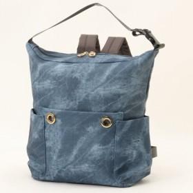 バッグ カバン 鞄 レディース リュック デニム風フェイクレザー2WAYリュックサック カラー 「ネイビー」