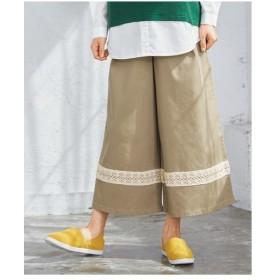 パンツ ワイド ガウチョ 大きいサイズ レディース レース切替クロップドワイド  L〜10L ニッセン