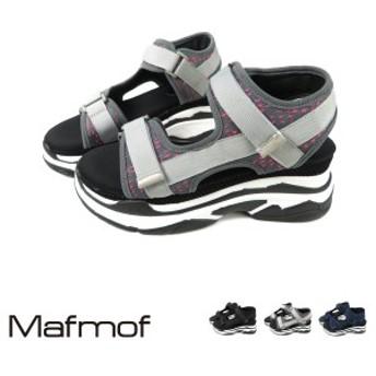 SALE!Mafmof(マフモフ) メッシュダブルベルトの厚底スポーツサンダル レディース ブラック/ホワイト/ネイビー S/M/L/LL 494s19