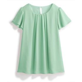 【新色追加♪】ジョーゼットフレアブラウス(カットソー裏地付) (ブラウス),Blouses, Shirts