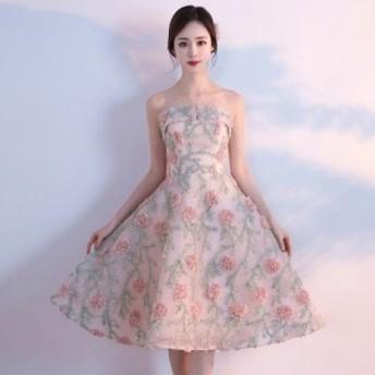 パーティードレス 結婚式 二次会 ワンピース 結婚式ドレス お呼ばれワンピース 20代 30代 40代 ひざ丈 ピンク 花柄 刺繍 a0734