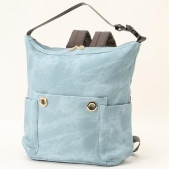 バッグ カバン 鞄 レディース リュック デニム風フェイクレザー2WAYリュックサック カラー 「ブルー」