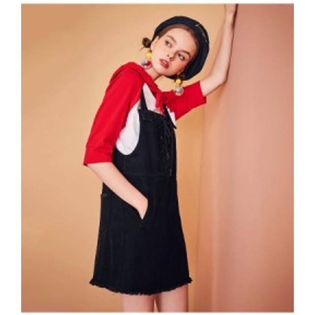 ジャンパースカート デニムスカート ノースリーブ ワンステップスカート デート 女子会 春夏