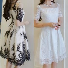 結婚式ドレス パーティードレス ふんわり上品なお嬢様 シースルーフラワーレースパーティードレス a0182