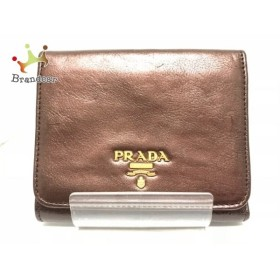 プラダ PRADA 3つ折り財布 - 1M0176 メタルボルドーブラウン ウィテロレザー       スペシャル特価 20191014