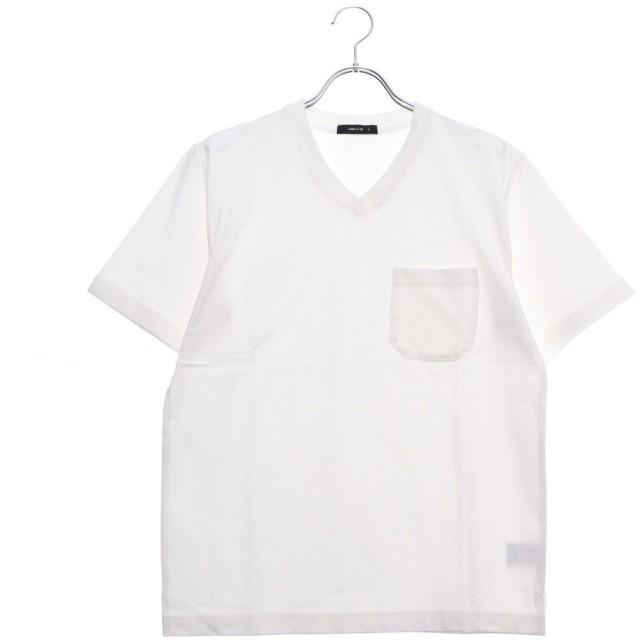 コムサイズム COMME CA ISM <汗染み防止加工> Vネック Tシャツ (ホワイト)