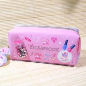 ピンク シャカシャカ BOXペンケース(#SCRAPBOOK Milk コスメ)55376/可愛い筆箱 ペン入れ キラカワ スパンコール入り