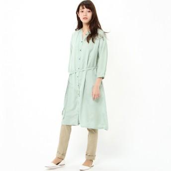 【ナチュラル】麻混七分袖前開きシャツワンピース【選べる6色】