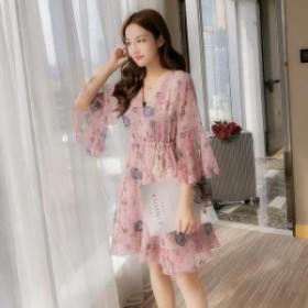 【0400】レディース ファッション 花柄 レース ワンピース ゆったり ピンク イエロー グレー お出かけ デート