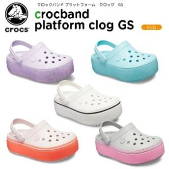 クロックス(crocs) クロックバンド プラットフォーム クロッグ GS(crocband platform clog GS) キッズ/厚底[C/A]