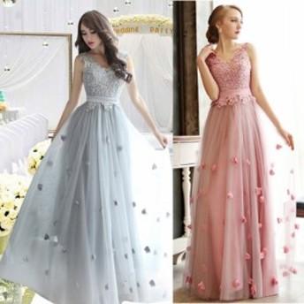 結婚式ドレス パーティードレス 20代 大人可愛い上品でガーリーなロング丈フラワードレス a0534