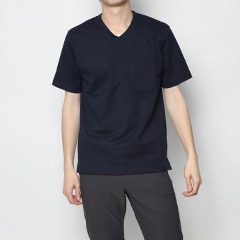 コムサイズム COMME CA ISM <汗染み防止加工> Vネック Tシャツ (ネイビー)