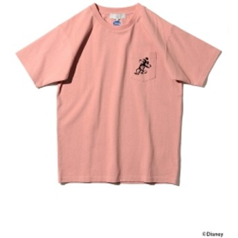 Disney|B:MING by BEAMS / ミッキーマウス フロッキープリント Tシャツ メンズ Tシャツ PINK S