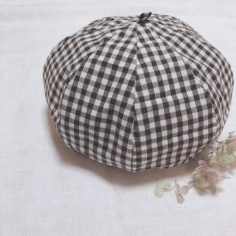 ベレー帽 L(ダークブラウンのギンガムチェック)