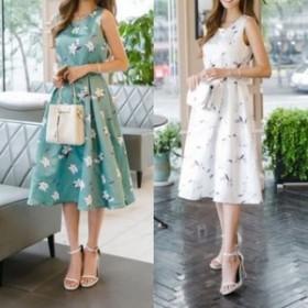 ワンピースドレス ワンピース ドレス 結婚式ドレス 爽やかで可愛い花柄ワンピースドレス ワンピース ドレス a0262