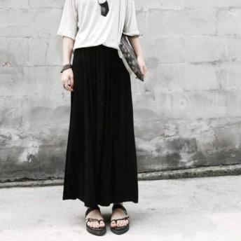 マキシ丈 プリーツ スカート ハイウエスト 美脚 体型カバー ロングスカート シンプル 韓国ファッション レディース